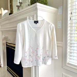Vintage Cream and Embroidered Floral Sweater